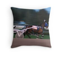 A day at the harness races in Saratoga, New York. Throw Pillow