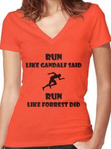 Run. Women's Fitted V-Neck T-Shirt