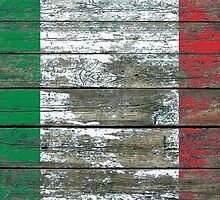 Flag of Italy on Rough Wood Boards Effect by Jeff Bartels