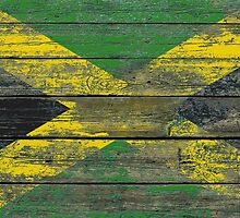 Flag of Jamaica on Rough Wood Boards Effect by Jeff Bartels