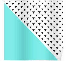 Blue and triangles Poster