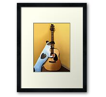 STRUMMING THE WAY MY HEART FEELS FOR U..CANINE STRUMMING GUITAR PICTURE AND OR CARD Framed Print