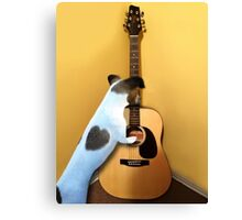 STRUMMING THE WAY MY HEART FEELS FOR U..CANINE STRUMMING GUITAR PICTURE AND OR CARD Canvas Print