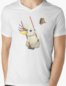 Pooky Swinging with a Butterfly Mens V-Neck T-Shirt