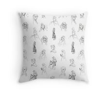 Sketched Princesses Throw Pillow