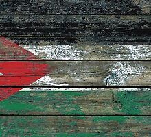 Flag of Jordan on Rough Wood Boards Effect by Jeff Bartels