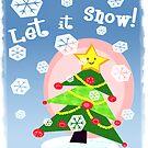 Kawaii Christmas Tree in the Snow by Jamie Wogan Edwards