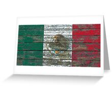 Flag of Mexico on Rough Wood Boards Effect Greeting Card