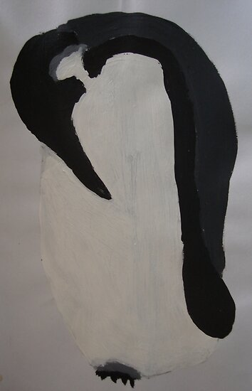 Penguin in pencil and paint by lillithtitania