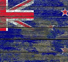 Flag of New Zealand on Rough Wood Boards Effect by Jeff Bartels