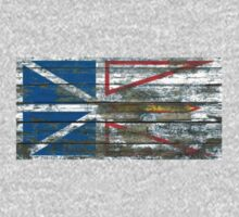 Flag of Newfoundland on Rough Wood Boards Effect Kids Tee