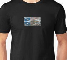 Flag of Newfoundland on Rough Wood Boards Effect Unisex T-Shirt