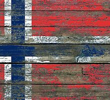 Flag of Norway on Rough Wood Boards Effect by Jeff Bartels