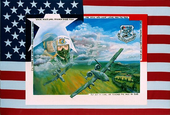 A10 pilot L/C Bill Olson  and flag by Woodie