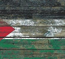 Flag of Palestine on Rough Wood Boards Effect by Jeff Bartels