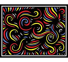 Saberi Abstract Expression Yellow Red Blue Photographic Print