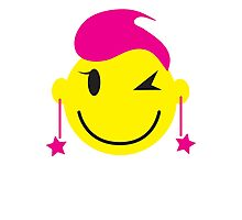 Cute pink happy SMILEY with starry earrings Photographic Print