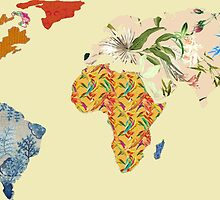 Floral Patchwork World Map by luckylucy