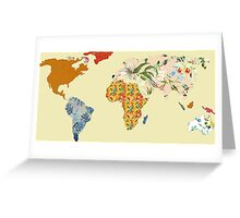 Floral Patchwork World Map Greeting Card