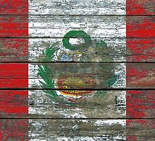 Flag of Peru on Rough Wood Boards Effect by Jeff Bartels
