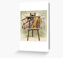 Modigliani Nude on Magritte Easel (acrylic) Greeting Card