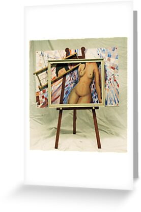 Modigliani Nude on Magritte Easel (acrylic) by Woodie