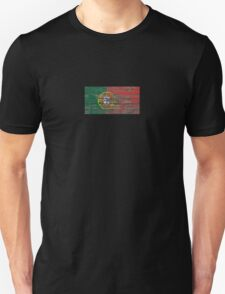 Flag of Portugal on Rough Wood Boards Effect T-Shirt