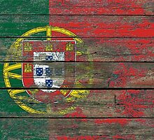 Flag of Portugal on Rough Wood Boards Effect by Jeff Bartels