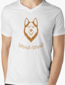 Print of fun Husky Mens V-Neck T-Shirt