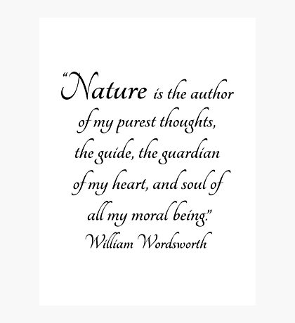Nature is the author of my purest thoughts.....  Wordsworth Quote Photographic Print