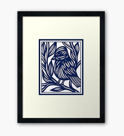 Carrubba Bird Blue White Framed Print