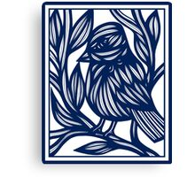 Carrubba Bird Blue White Canvas Print