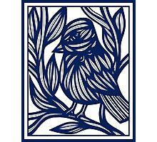 Carrubba Bird Blue White Photographic Print