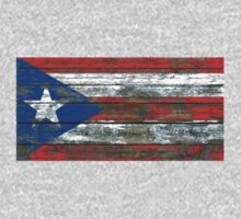 Flag of Puerto Rico on Rough Wood Boards Effect Kids Tee