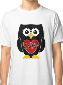 Black Owl with Red Heart - LOVE Classic T-Shirt