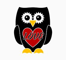 Black Owl with Red Heart - LOVE Womens Fitted T-Shirt