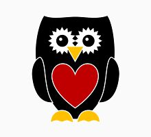Black Owl with Red Heart Womens Fitted T-Shirt