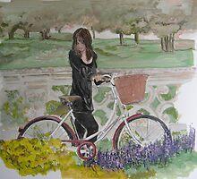 Bicycle Art .. Suzi McArdle original gouache by Suzi  McArdle