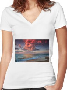 Reflective Cloud Women's Fitted V-Neck T-Shirt