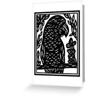 Faivre Parrot Black and White Greeting Card