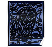Seek Owl Blue Black Poster