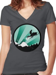 snowmobile : powder trail Women's Fitted V-Neck T-Shirt