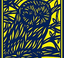 Loperfido Owl Yellow Blue by martygraw
