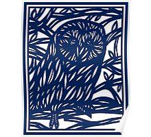 Lamborne Owl Blue White Poster