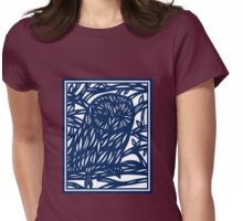Lamborne Owl Blue White Womens Fitted T-Shirt