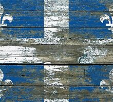 Flag of Quebec on Rough Wood Boards Effect by Jeff Bartels