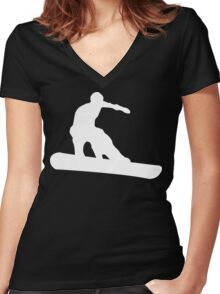 snowboard : silhouettes Women's Fitted V-Neck T-Shirt
