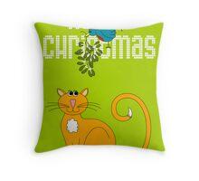 Happy Christmas in White Throw Pillow
