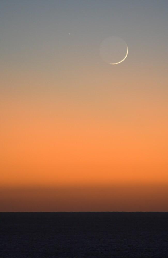 Dawn Moon Earthshine by Mike Salway