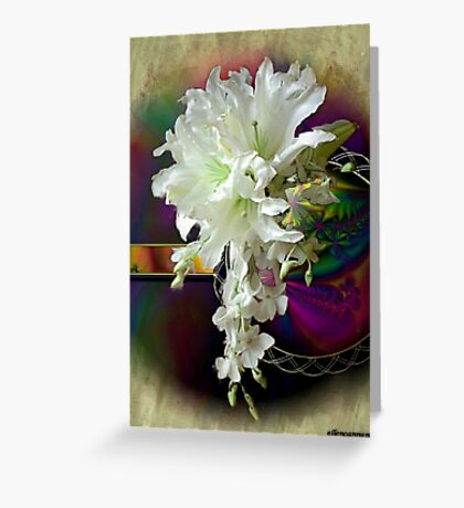 White Satin Blossoms Greeting Card